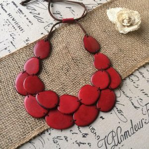 Red statement Tagua necklace