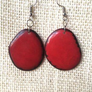 Red Tagua Nut Earrings