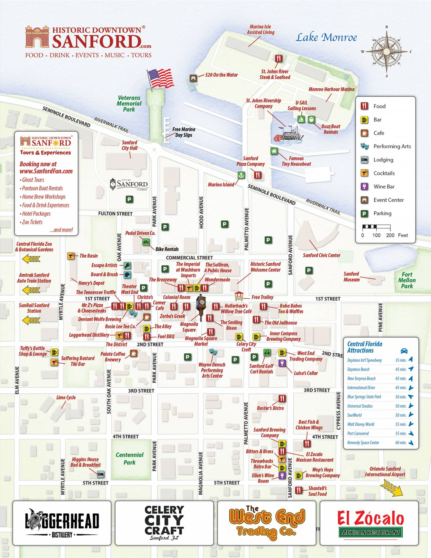 Map of Historic Downtown Sanford Florida