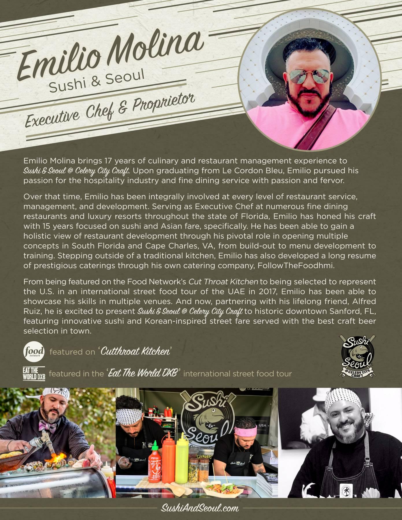 Chef Emilio Molina - Sushi & Seoul at Celery City Craft