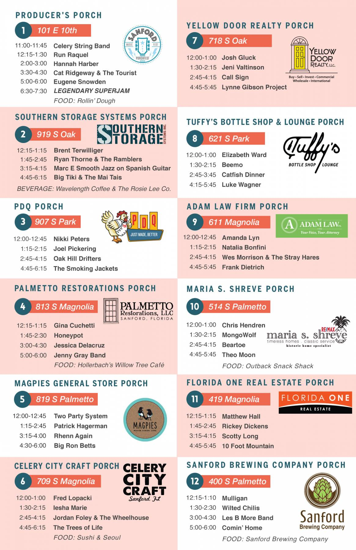 3RD ANNUAL SANFORD PORCHFEST MSIC FESTIVAL BAND LINEUP