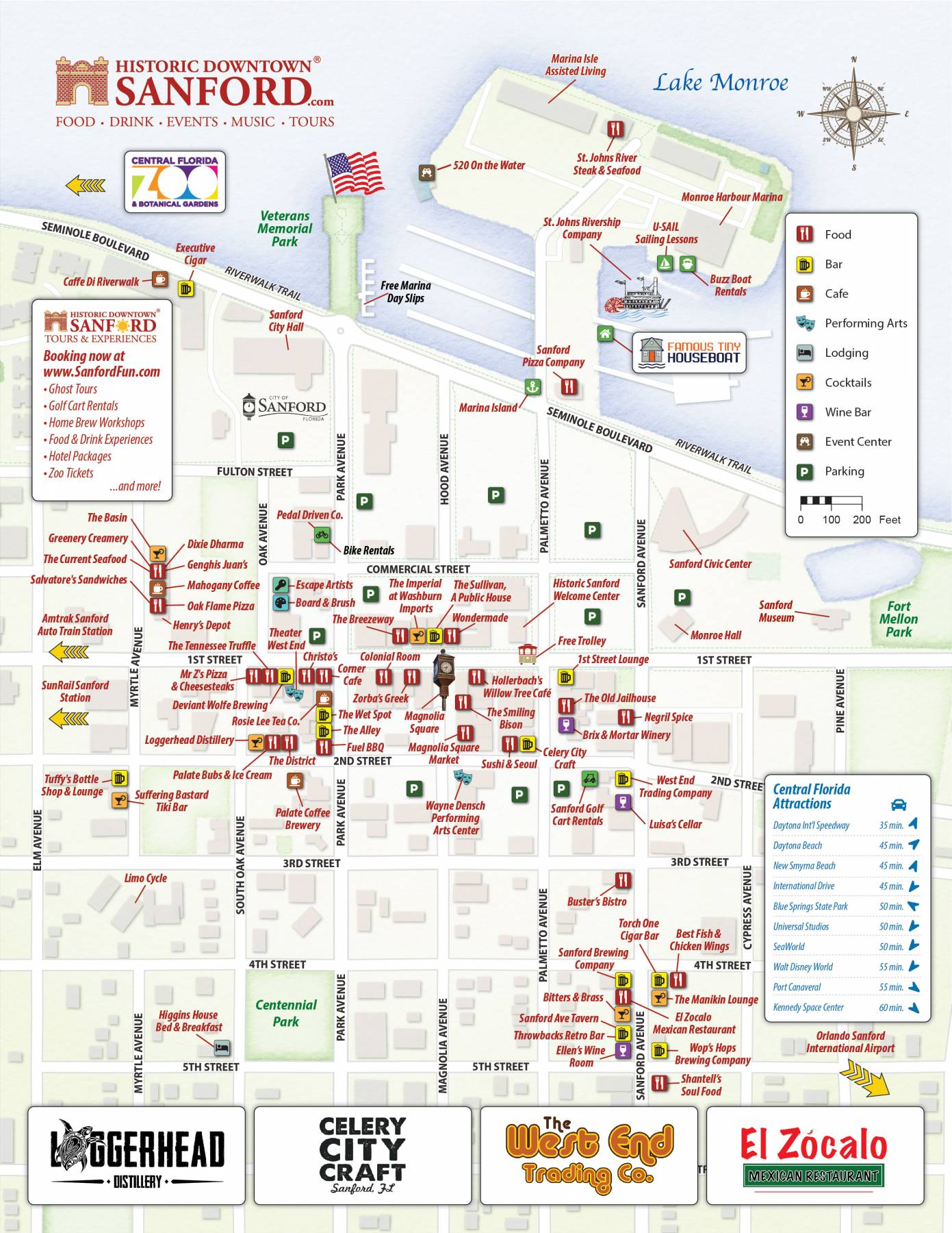 Map of Historic Downtown Sanford, Florida